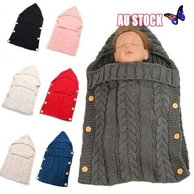 Newborn Infant Baby Blanket Knit Crochet Warm Swaddle Wrap Sleeping Bag