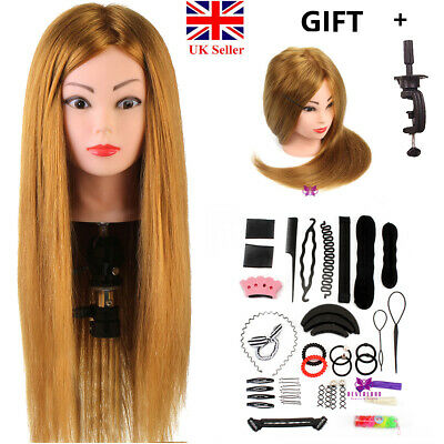 """24"""" 60% Real Hair Training Head Practice Mannequin Doll Braid Tools Set Clamp UK"""