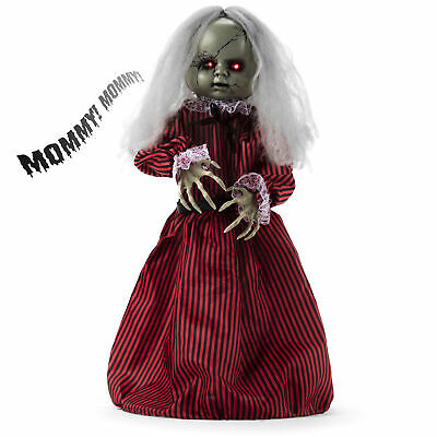 BCP Haunted Holly Roaming Doll Halloween Decor w/ Light-Up Eyes, Sounds, Phrases