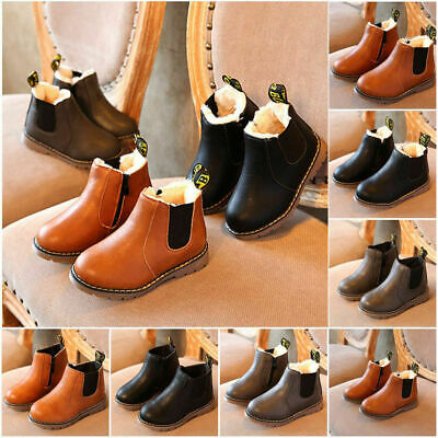 UK Kids Boys Girls Winter Warm Leather Fur Lined Shoes Ankle Boots Chelsea Shoes