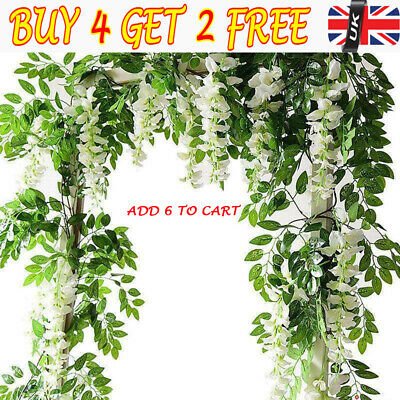 2X 7FT Artificial Wisteria Vine Garland Plant Outdoor/Home Trailing Flower RE
