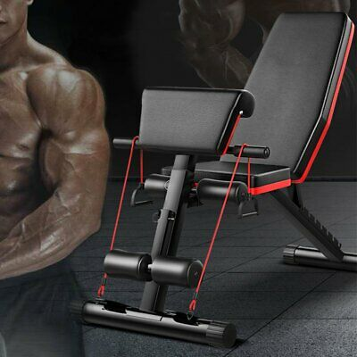 Adjustable FID Flat/Incline/Decline Weight Bench Dumbbell/Barbell/Gym FAST DL