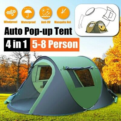 2-8 Person Man Family Camping Tent Automatic Pop Up Shelter Outdoor Hiking Easy