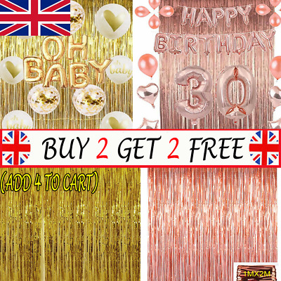 2M-3M Foil Fringe Tinsel Shimmer Curtain Birthday Wedding Wall Door RoomP Decor