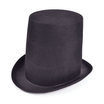 BLACK FELT STOVEPIPE TOP HAT VICTORIAN FANCY DRESS FORMAL COSTUME ACCESSORY