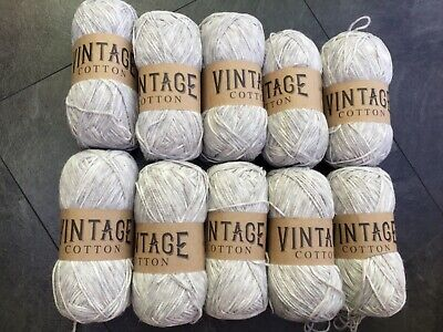 YARN 5x100g VINTAGE COTTON GRASS GREEN dk COTTON DOUBLE KNITTING WOOL