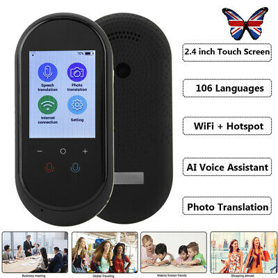2.4'' Touch Screen WiFi Smart Voice Translator 106 Languages Translation Travel