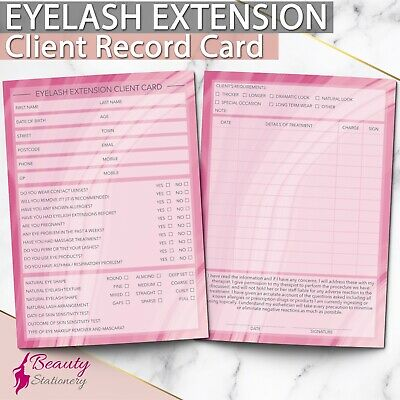 Eyelash Extension Client Record Card Lash PREMIUM Treatment Consultation A6