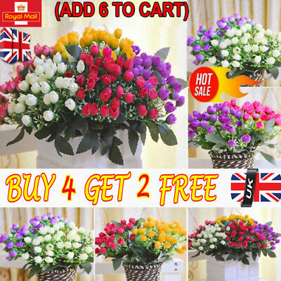 36HEADS ARTIFICIAL SILK FLOWERS BUNCH Wedding Home Grave Outdoor Bouquet RE