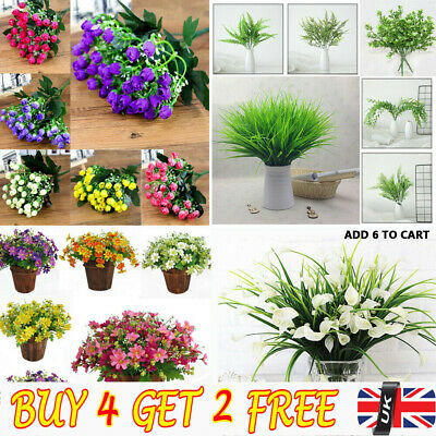 4 Types Artificial Flowers Fake Plants Grass Plastic In/Outdoor Garden Lily, RE