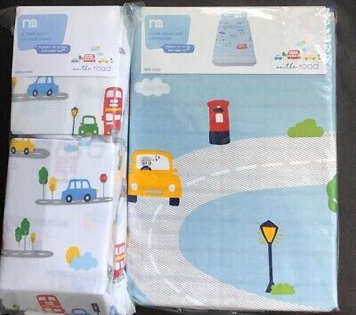 Mothercare On The Road Duvet Cover Set & 2 Fitted Sheets Cot Bed / Toddler Bed