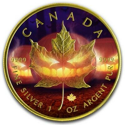 HALLOWEEN 2019 1oz Canada Silver Colorized Gold Gilded Maple Leaf coin