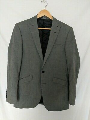 Marks And Spencers Mens Grey Suit Jacket Blazer 38M 100% Wool Dogtooth #X1