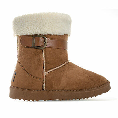 Junior Girls Henleys Monroe Boots In Tan- Buckle To Collar- Faux Fur Lined -