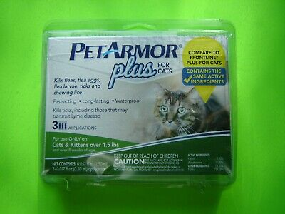 Pet Armor Plus for Cats Kills Fleas Ticks Eggs Larvae Chewing lice - 3 doses