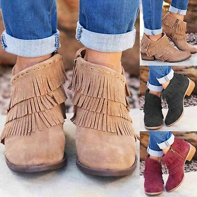 Ladies Womens Ankle Boots Flat Low Heel Chunky Tassel Casual Shoes Size UK 3-8