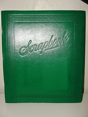 Vintage Deluxe Craft Scrapbook Green Embossed Scroll Floral Large 49 Page Unused