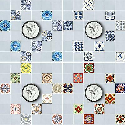 UK_ 20x 3D Tile Stickers European Style Kitchen Living Room Wall DIY Decor Decal