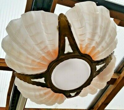 """Art Deco """"Beanco"""" 4 Panel Ceiling Light with Clam Shells"""