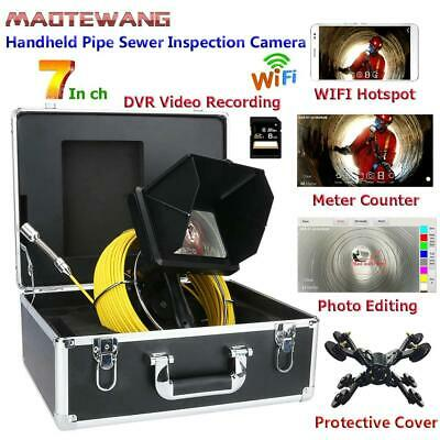 1080P DVR Pipe Sewer Inspection Camera 50M Cable Meter Counter WIFI LED adjust