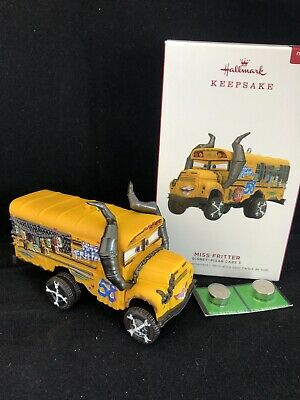 Miss Fritter Disney Pixar Cars 3  2019 Hallmark Ornament with Sound School Bus