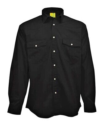 SHIRT Mens Longsleeve Mans Pre-Washed 100% Brushed Cotton Twill NEW! Black