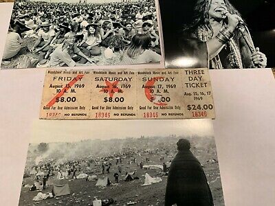 WOODSTOCK 3 DAY 1969 ORIGINAL TICKETS JIMI HENDRIX GRATEFUL DEAD JANIS JOPLIN xn