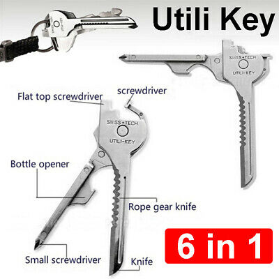 6 In 1 Utili-key Outdoor Multi-function Key Chain Folding Mini Key Knife EDC