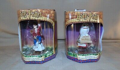2 Harry Potter and Hedwig Hanging Christmas Ornament By Enesco NEW