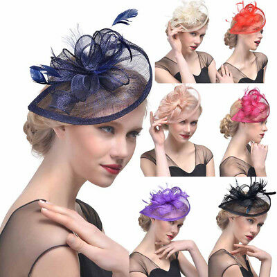 Women Ladies Hat Feather Mesh Net Veil Formal Party Flower Hat Clip Hairdress AU