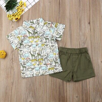 Toddler Baby Boy Kids Clothes Animal Print T-Shirt+Shorts Outfits Clothes 2PCS