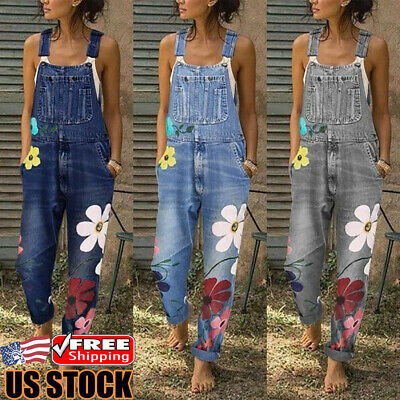 Women Denim Dungarees Overalls Floral Casual Jumpsuit Rompers Straps Jeans Pants