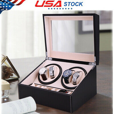 4+6 Automatic Rotation Leather Wood Watch Winder Storage Auto Display Case Box