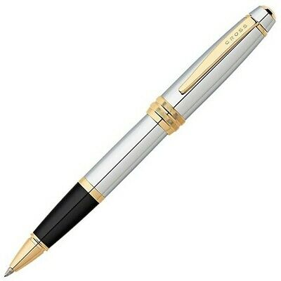 CROSS AT04556 Chrome Medalist Bailey Rollerball Pen w/ 23k Gold Appointments