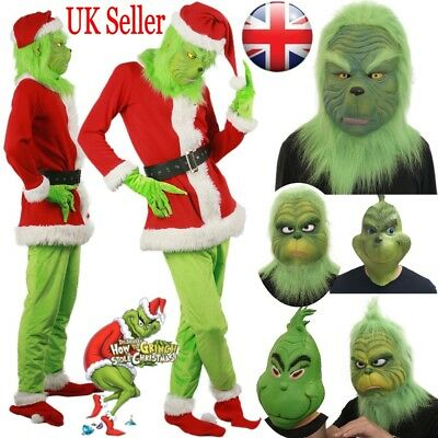 Santa Grinch Cosplay Costume How the Grinch Stole Christmas Outfit Fancy Mask UK