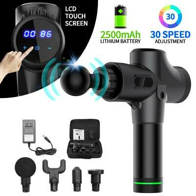 30 Speed-Massage Gun Percussion Massager Muscle Vibrating Relaxing Therapy LCD