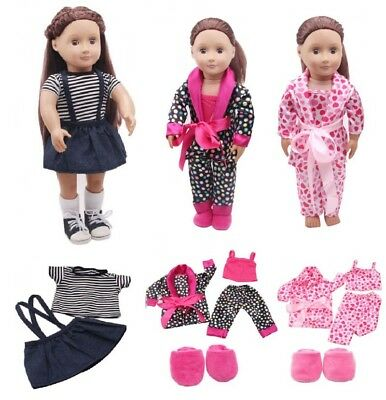 5pcs Clothes Shoes for 18'' American Girl Our Generation Dolls Pajamas Set