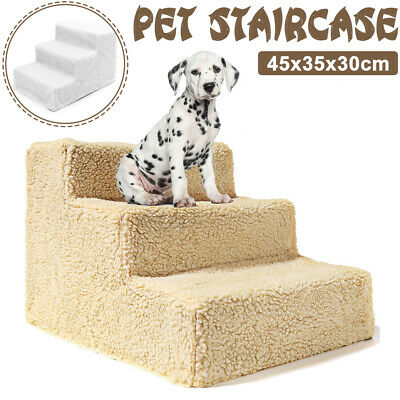 Pet Stairs 3 Steps Climbing Soft Portable Cat Dog Step Ramp Climb Ladder w/Cover