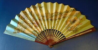 Vintage Spanish Collectable Souvenir Hand Fan: Wood & Paper (Bullfighting)