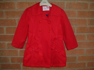 YD Girls RED Trench Coat Jacket Age 3-4 104cm