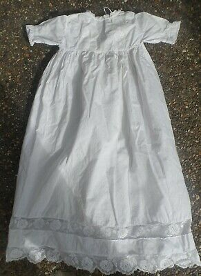 Vintage Antique Christening Long BABY OR DOLL DRESS off-white Lace Cotton Robe