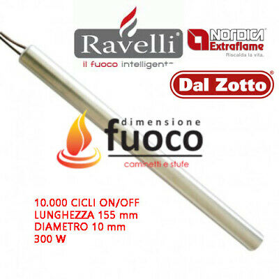 CANDELETTA  ACCENSIONE LINEARE D.10 300W 155 mm STUFE PELLET- RAVELLI-TMC  -1016
