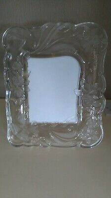 """LARGE VINTAGE HEAVY ORNATE FROSTED/CLEAR  GLASS PHOTO FRAME 8""""x"""""""
