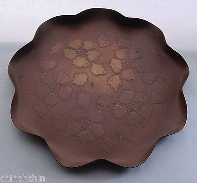 Phenomenal ARTS and CRAFTS or Nouveau COPPER Repousse TRAY Hand Crafted BLOSSOMS