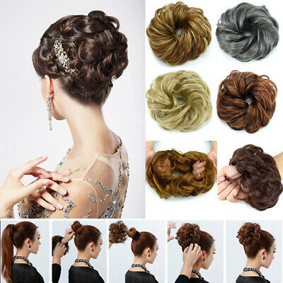 UK LARGE Thick Flexible Curly Messy Bun Scrunchie Updo Cover Hairpiece Extension