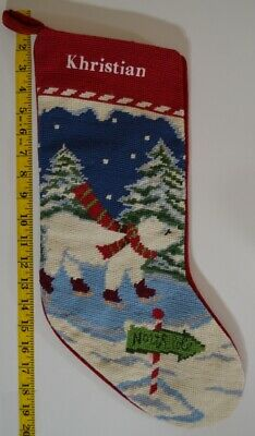 Lands End Christmas Stockings.Lands End Polar Bear Needlepoint Christmas Stocking