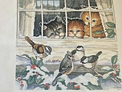 """Cats Kittens Birds Cross Stitch Canvas Completed  17""""x 15"""" Overall Chickadee"""