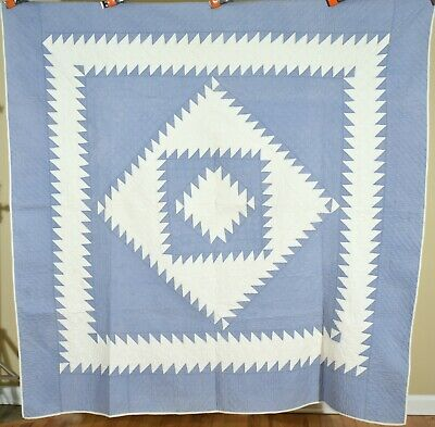 WELL QUILTED Vintage 20s Blue & White Sawtooth Diamond in a Square Antique Quilt