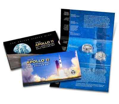2019 S Apollo 11 50th Anniversary Reverse Kennedy Proof Two Half Dollar Set 19CF