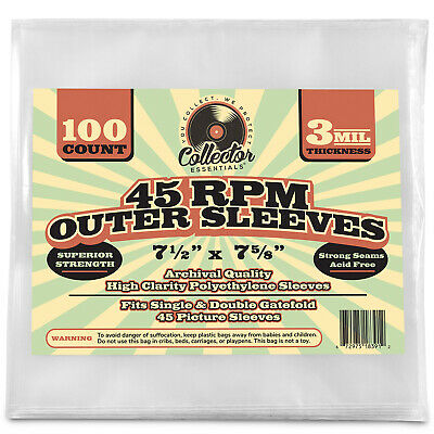 """(100) 45 rpm Record Sleeves 7"""" Vinyl Outer Poly Sleeve Covers 3 MIL Thickness"""